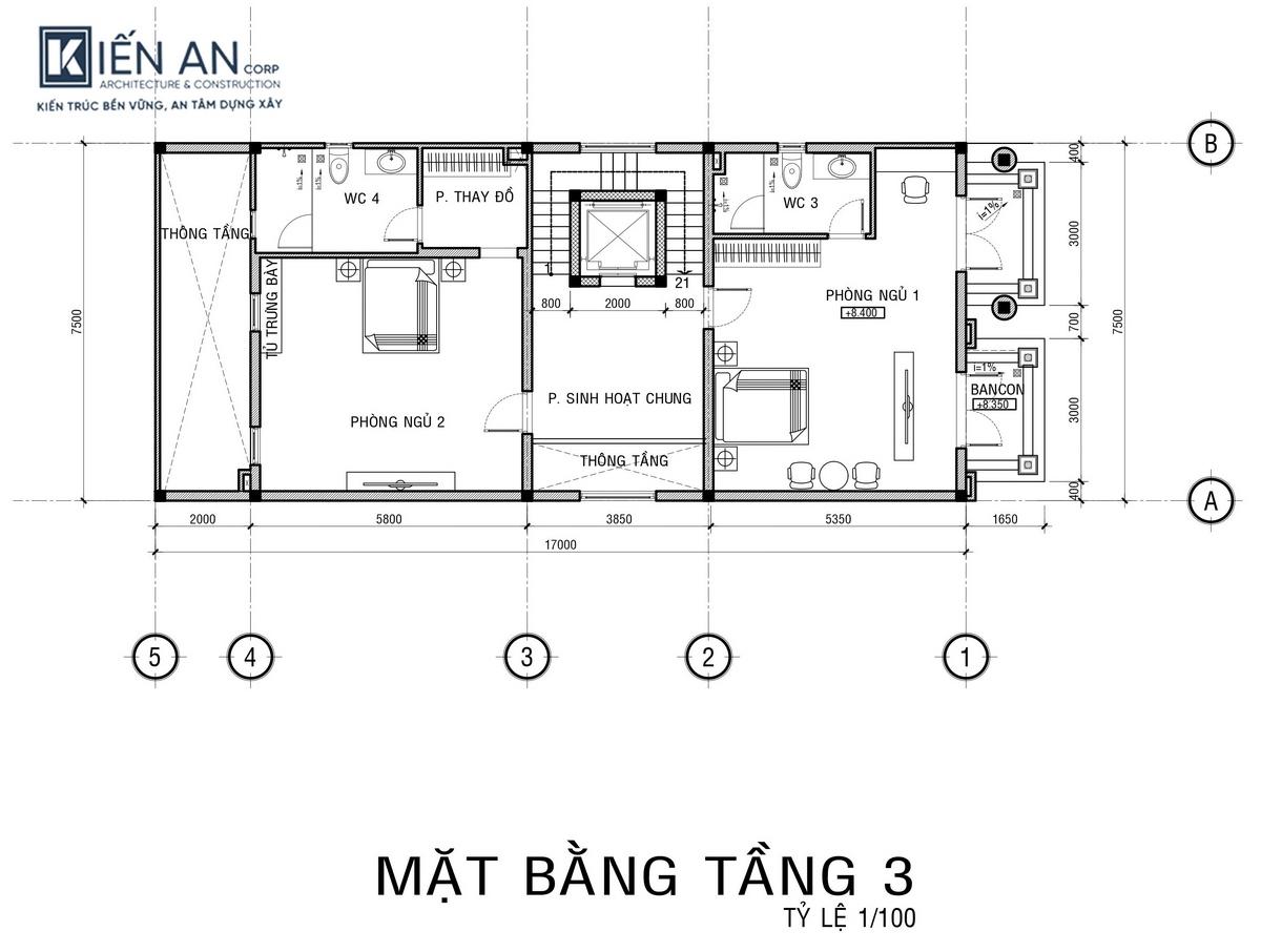 Bản vẽ mặt bằng tầng 3 thiết kế biệt thự phố kết hợp kinh doanh