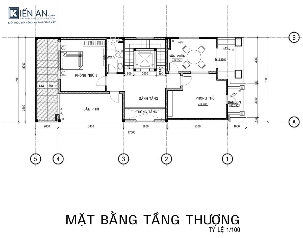 Bản vẽ mặt bằng tầng 4 thiết kế biệt thự phố kết hợp kinh doanh
