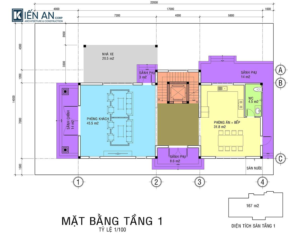 biệt thự 3 tầng 3 phòng ngủ