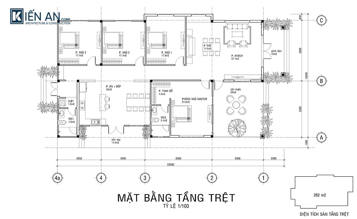biệt thự 1 tầng 4 phòng ngủ