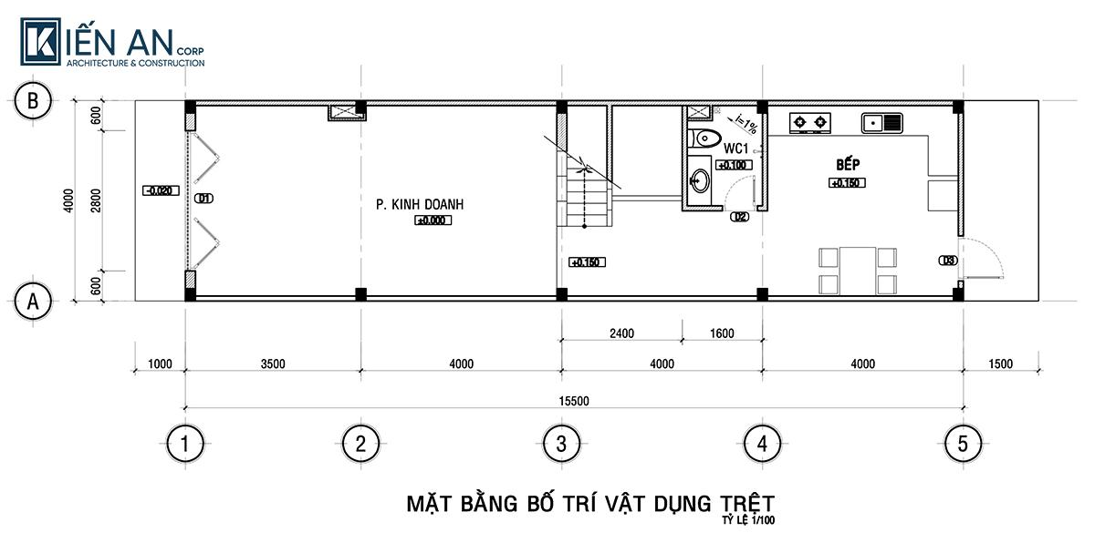 mặt bằng mẫu nhà ống 3 tầng mặt tiền 4m