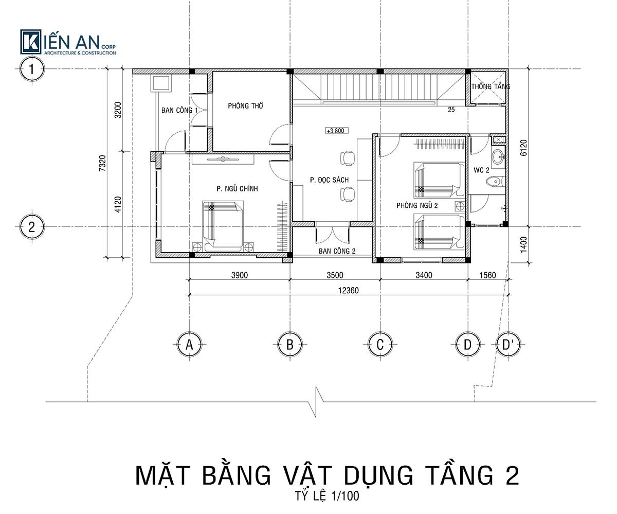 Biệt thự 2 tầng mái bằng