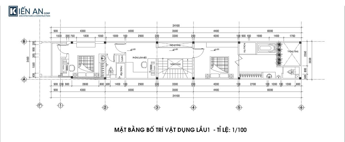 Mặt bằng thiết kế nhà ống 4 tầng